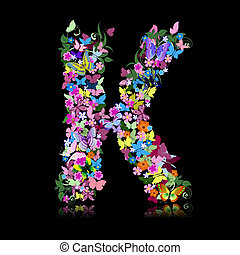 letter of flowers and a butterfly