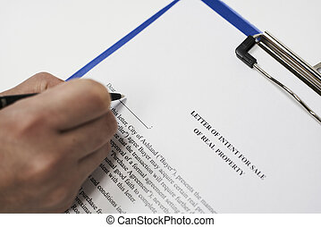 Letter of intent for sale of real property