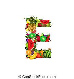 Letter of juicy fruit E
