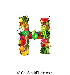 Letter of juicy fruit H