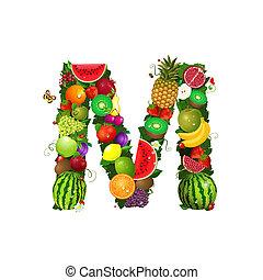Letter of juicy fruit M