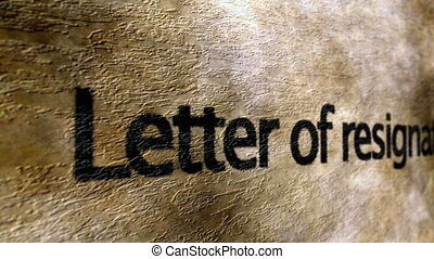 Letter of resignation grunge background