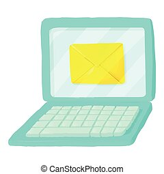 Letter on laptop icon, cartoon style