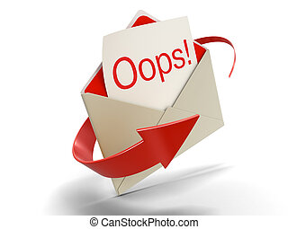 Letter Oops!. Image with clipping path