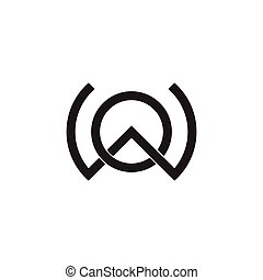 letter ow linked line logo vector