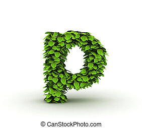 Letter p, alphabet of green leaves isolated on white background, lowercase