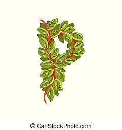 Letter P, English alphabet made of tree branches, ecology element for banner, card, label, presentation or poster vector Illustration