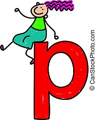 happy little girl sitting on giant letter P - lowercase version