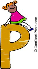 letter P girl - little girl sitting on letter P