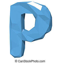 Letter P in Low Poly Style on white background.3D Rendering. Illustration