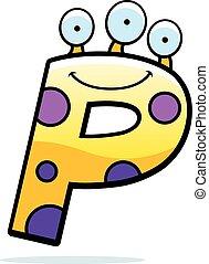 Letter P Monster - A cartoon illustration of a letter P...