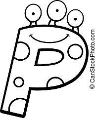 Letter P Monster - A cartoon illustration of a letter P...