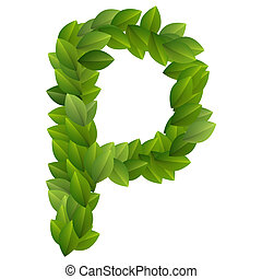 Letter P of green leaves alphabet - Letter P of alphabet...