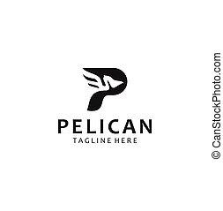 Letter P Pelican Logo abstract design vector template . Pelican Logo Design Black Silhouette