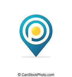 letter P Pin Logo icon vector illustration