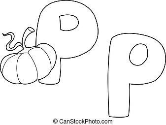 letter P pumpkin outlined