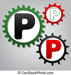 Letter P sign design template element. Vector. Three connected g