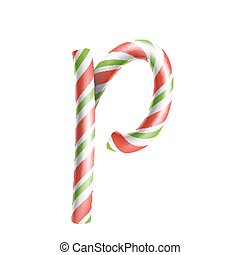 Letter P Vector. 3D Realistic Candy Cane Alphabet Symbol In Christmas Colours. New Year Letter Textured With Red, White. Typography Template. Striped Craft Isolated Object. Xmas Art Illustration