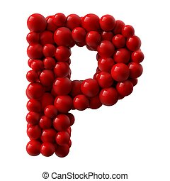 letter P with red colored shiny balls. realistic vector illustration.