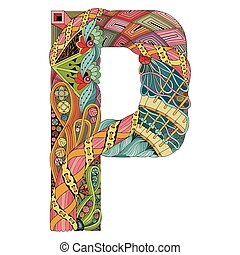 Letter P zentangle. Vector decorative object - Hand-painted...