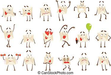 Letter Paper Envelop Cartoon Character Emotion Illustrations Set