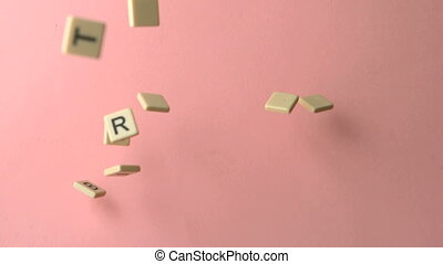 Letter pieces spelling Happy Birthd