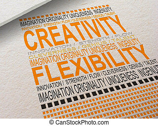 The word Creativity letterpressed into paper with associated words around it.