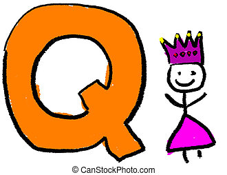 Letter Q - A childlike drawing of the letter Q, with a stick...