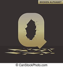 Letter Q. Broken mirror