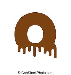 Letter Q Chocolate font. sweetness alphabet. Liquid lettering. Sweet viscous ABC sign