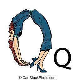 letter Q cue. Business people silhouette alphabet