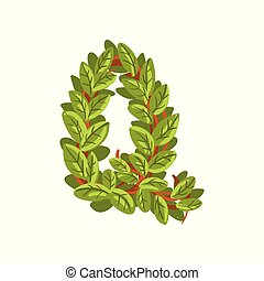 Letter Q, English alphabet made of tree branches, ecology element for banner, card, label, presentation or poster vector Illustration