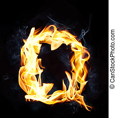 Letter Q. Fire and smoke alphabet over black background