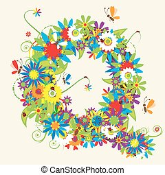 Letter Q, floral design. See also letters in my gallery