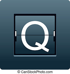 Letter Q from mechanical scoreboard. Vector