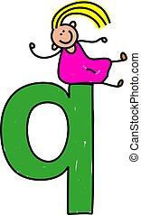 letter Q girl - happy little girl sitting on giant letter Q...