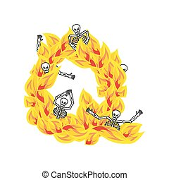Letter Q hellish flames and sinners font. Fiery lettering. Infernal fire alphabet sign. ABC devilish flame of Death Satanic and skeleton