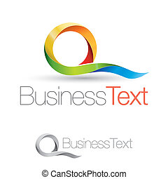 Abstract business icon with colorful and stylized letter Q