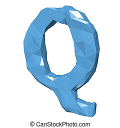 Letter Q in Low Poly Style on white background.3D Rendering. Illustration