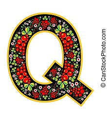 Letter Q in the Russian style. The style of Khokhloma on the font. A symbol in the style of a Russian doll on a white background. The font of the football championship 2018.