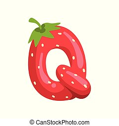 Letter Q of English alphabet made from ripe fresh srawberry, bright red berry font vector Illustration on a white background