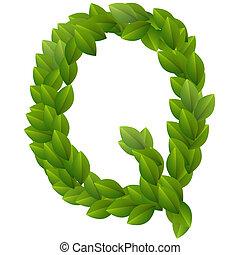 Letter Q of green leaves alphabet