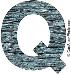 Letter Q of the alphabet, with wood texture in blue color