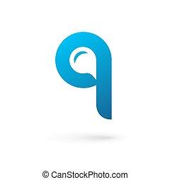 Letter Q speech bubble logo icon design template elements