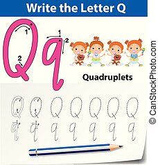 Letter Q tracing alphabet worksheets