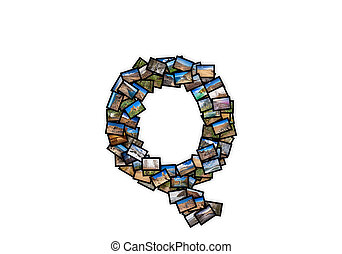 Letter Q uppercase font shape alphabet collage made of my...