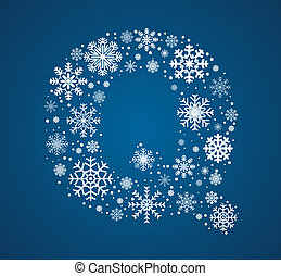 Letter Q, vector font frosty snowflakes