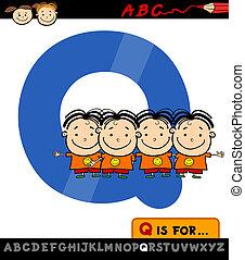 letter q with quadruplets illustration - Cartoon ...