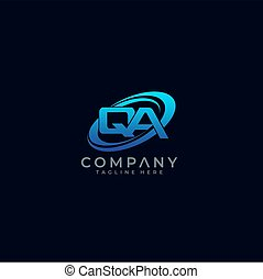 Letter QA Circle Swoosh Logo Design Vector