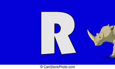 Letter R and Rhino (foreground) - Animated animal alphabet....